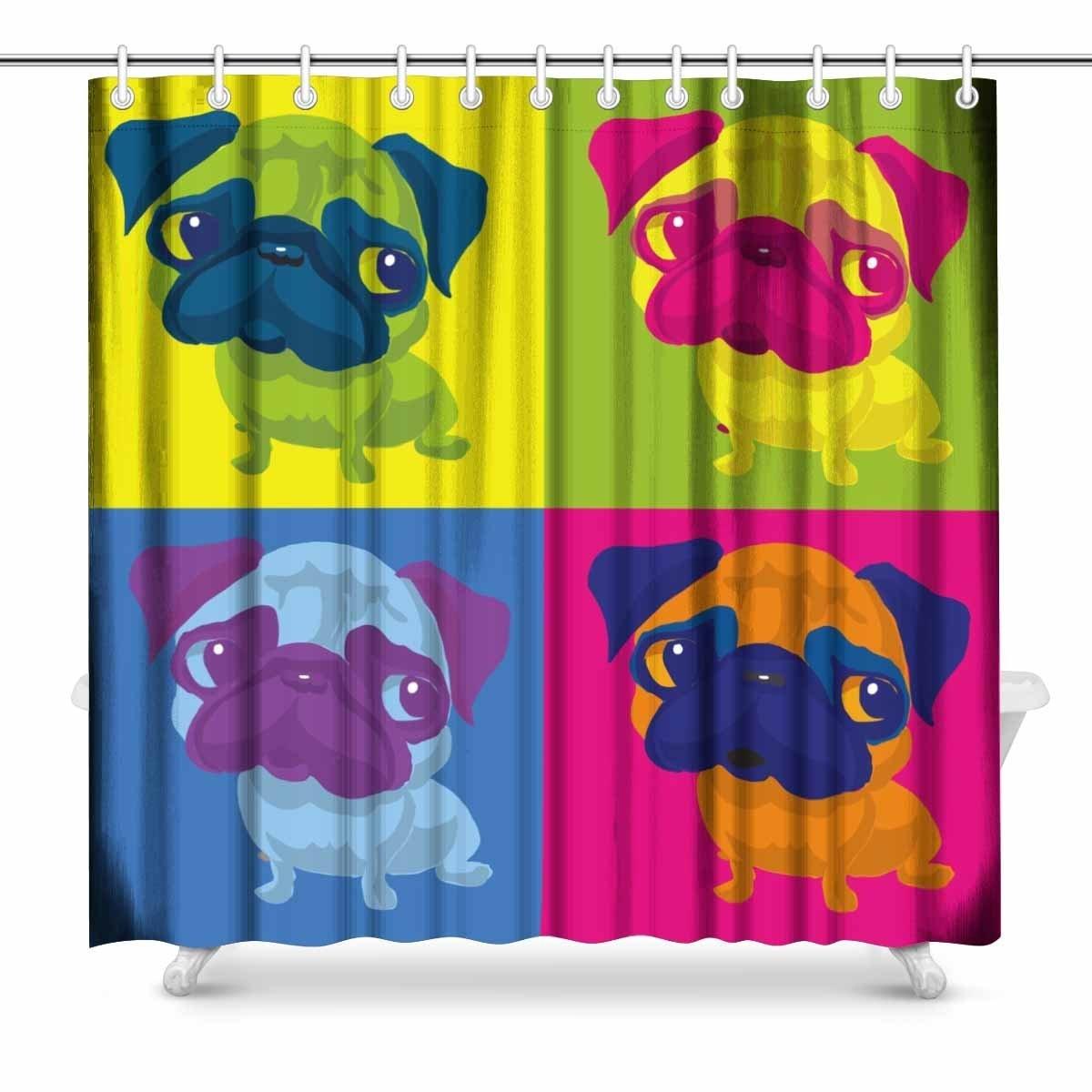Aplysia Pug Dog Andy Warhol Style Art Decor Print Bathroom Shower Curtain Decorations Fabric 72 Inches