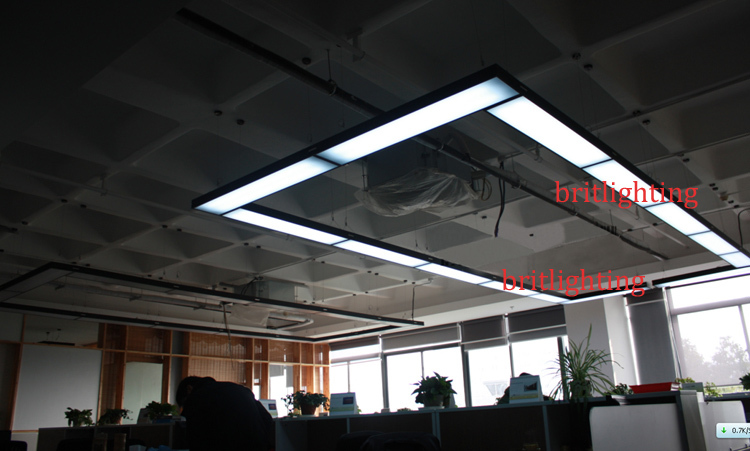 ФОТО Black Pendant Lights Modern Office Hanging lamps LED tube meeting room linear suspension Energy Efficiency Office Lighting