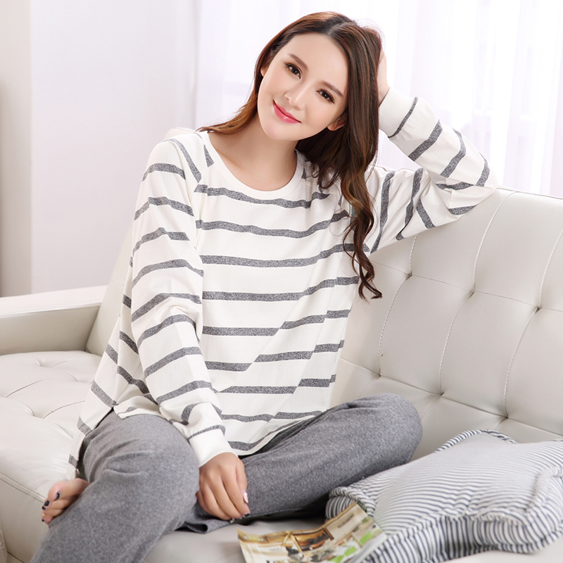 Autumn Striped Pyjamas Cotton Couple Pajamas Set Women Sleepwear Pajama Sets Pijamas Mujer Lover Pyjamas Homewear Clothing