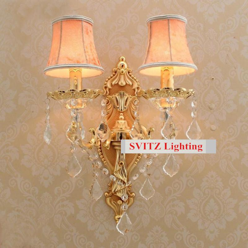 Hotel room 2 lights led wall lamp with fabric lampshade  Led candle bulbs Crystal wall lights bedside indoor lighting wall lamp modern acrylic led wall lights bedroom bedside wall lamp lampara de pared bed room decoration lighting wall sconces