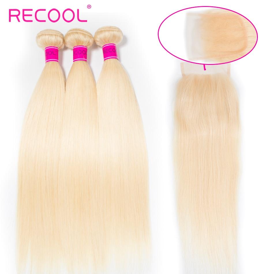 Recool Hair Blonde Bundles With Closure Brazilian Hair Weave Bundle With Closure Remy Human Hair 613