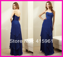 2014 Royal Blue Strapless Tiered Chiffon Long Bridemaid Dresses Bridesmaid Dress B1745
