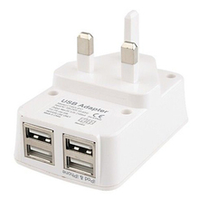 4 Ports USB Travel Charging With UK Plug White