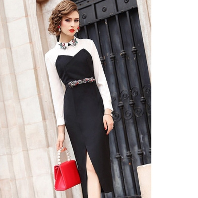 High street Shirt dress Spring 2019 new Women ladies Long sleeves sexy Party Dress Plus Size