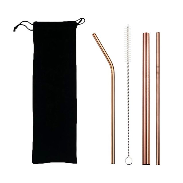 Reusable Durable Eco-Friendly Stainless Steel Drinking Straws Set