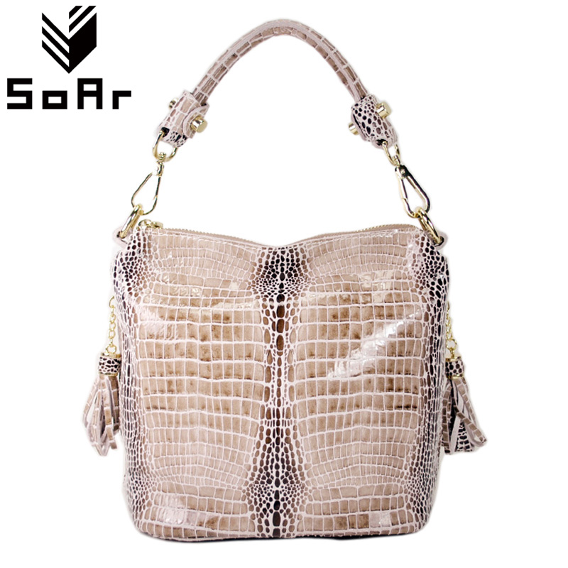 SoAr 100% Genuine Leather Women Bags Luxury Serpentine Real Leather Women Handbag New Fashion Messenger Shoulder Bag Female Tote