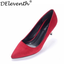 2016 Spring Autumn Fashion New Concise Women Shoes Pointed Toe High Heels Suede Leather Office Lady Pumps Wedding Party Red