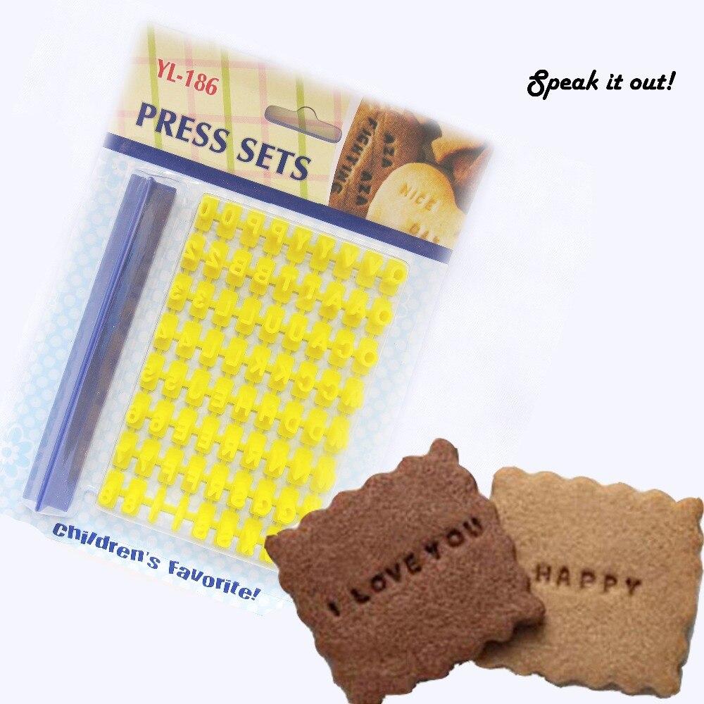 DIY Cartoon Biscuit Press Forma Set Cookies Letters Impress Tool Oddělitelné číslo Fondant Cutter Svatební dekorace Narozeninový dort