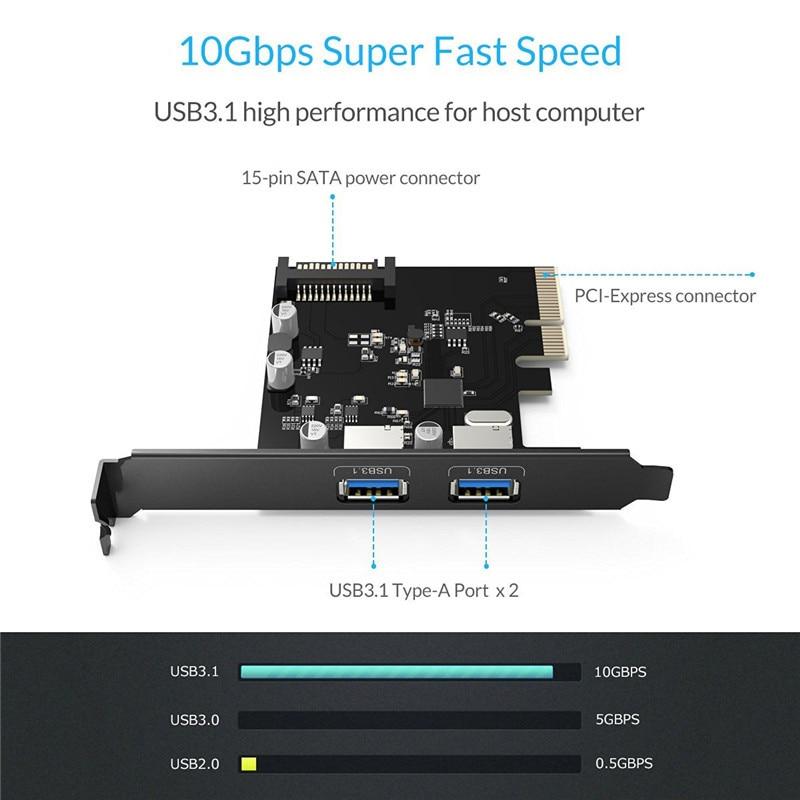 ORICO 2 prievadas USB3.1 PCI-E adapteris PCI Express išplėtimo - Kompiuterių periferiniai įrenginiai - Nuotrauka 2