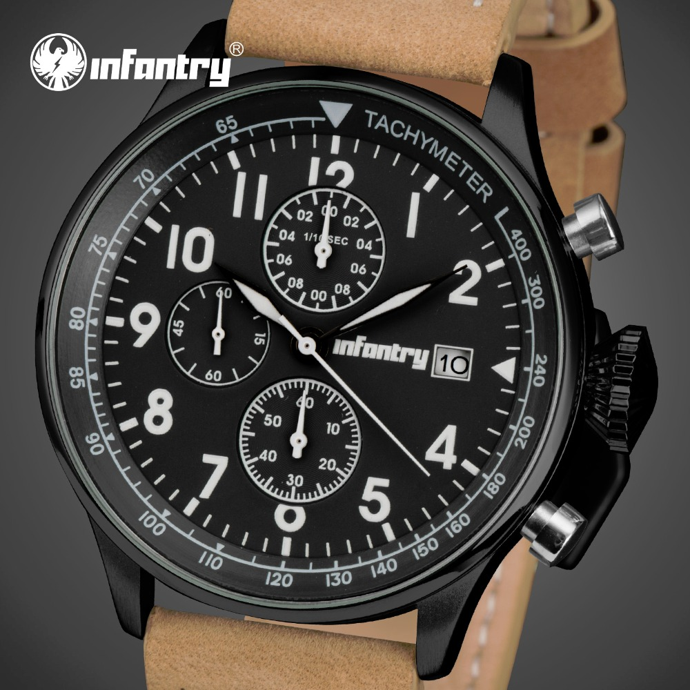 INFANTRY Men Quartz Watches Multifunction Chronograph Date Clocks PU Leather Army Military Sports Wrist Watch Relogio Masculino multifunction touch screen panel remote control tv dvd watch blue rectangle pu leather men watch relogio masculino