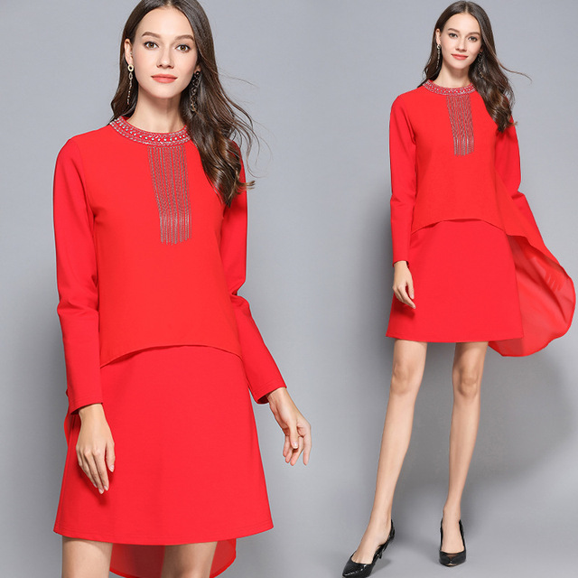 Autumn Fashion Ladies plus size elegant beaded tassels Dress beautiful party dress dove tails asymmetrical red vestido M-XXXXXL
