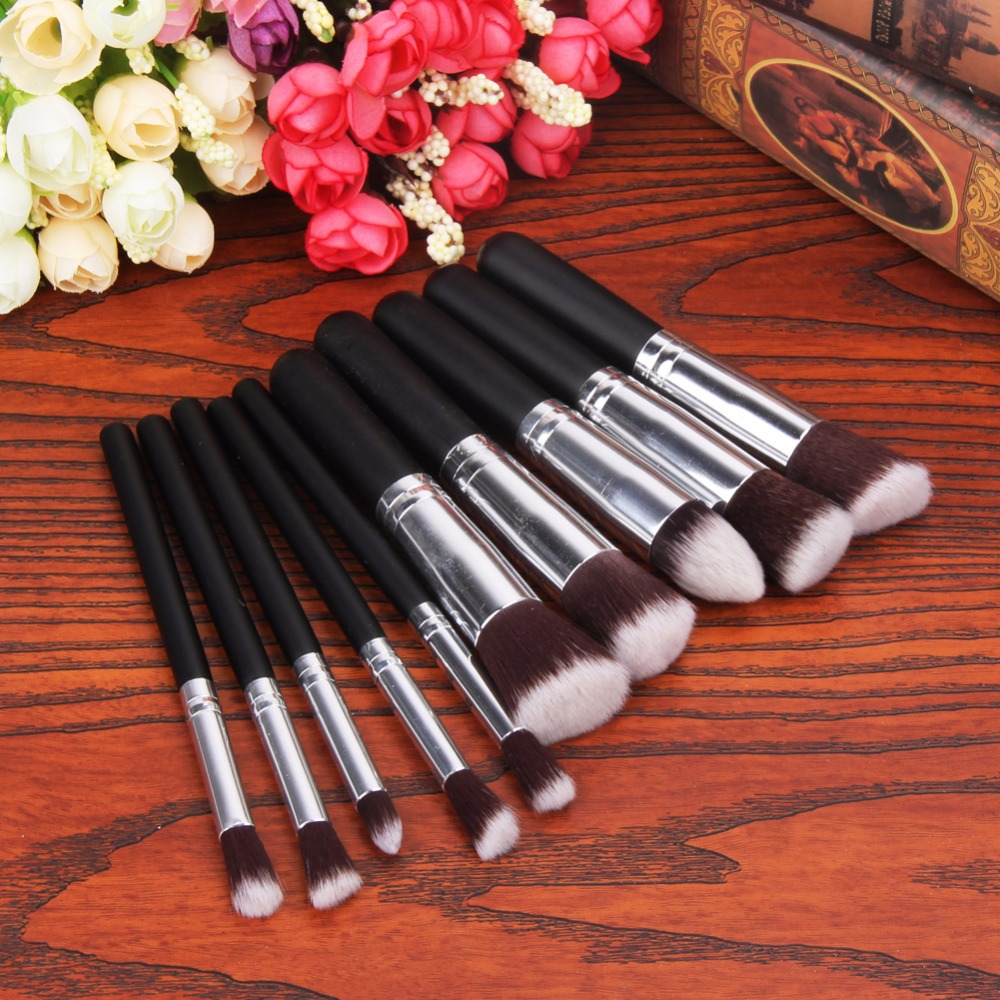 цены 10Pcs/Set Professional Makeup Powder Brush Set Black Handle Cosmetic Round Flat Foundation Blush Contour Eyeshadow Brushes Tools