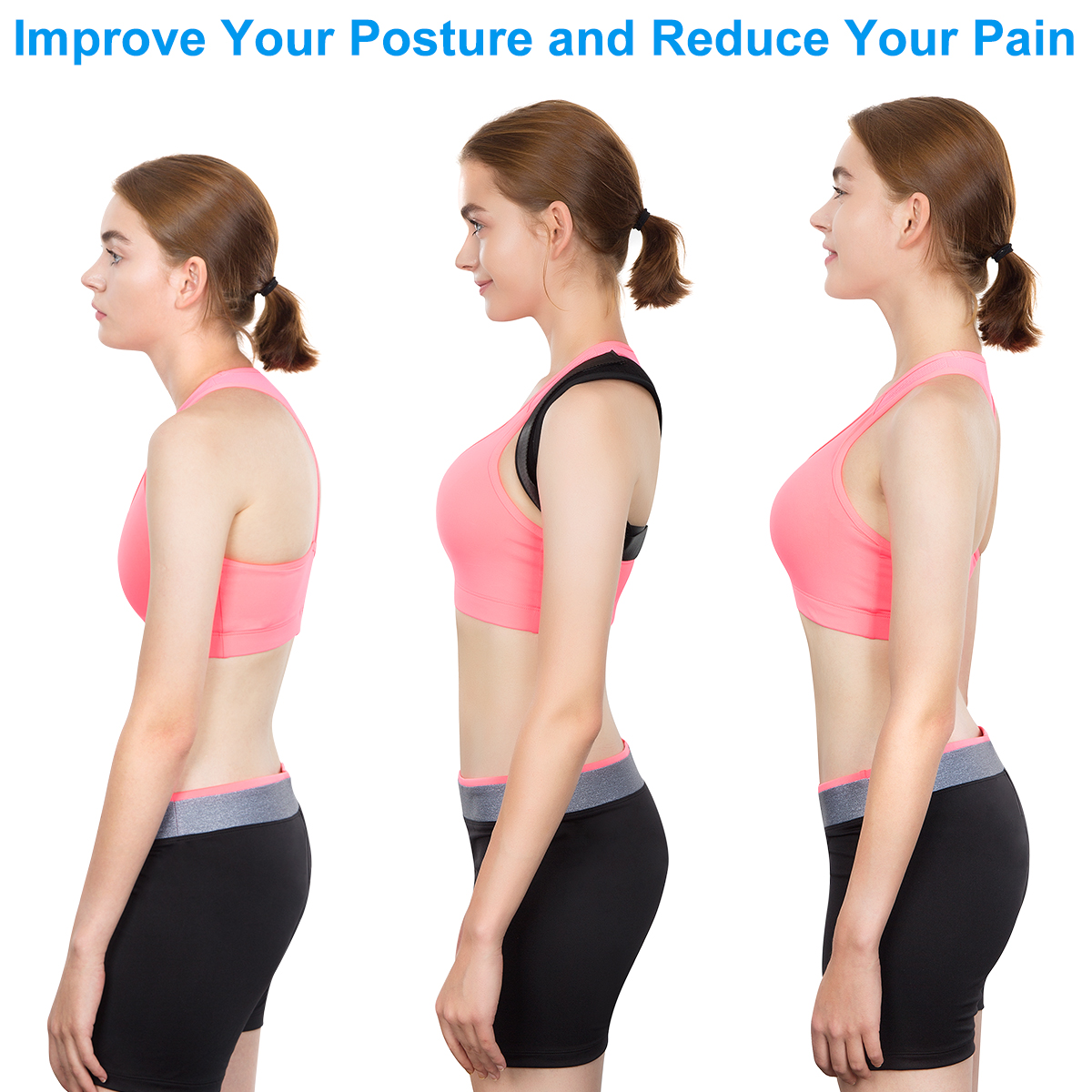 Breathable neoprene therapy shoulder body support adjustable magnetic waistcoat back brace posture corrector for men woman