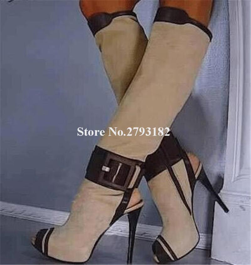 Women Fashion Style Peep Toe Suede Leather High Platform Knee High Gladiator Boots Big Buckle Patchwork Long High Heel Boots цена