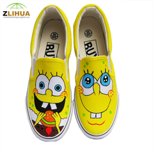 JUP The New yellow Cute Spongebob Hand Painted Canvas Shoes For Kid Boys Girls Men Canvas Shoes Low Help The Students With Shoes