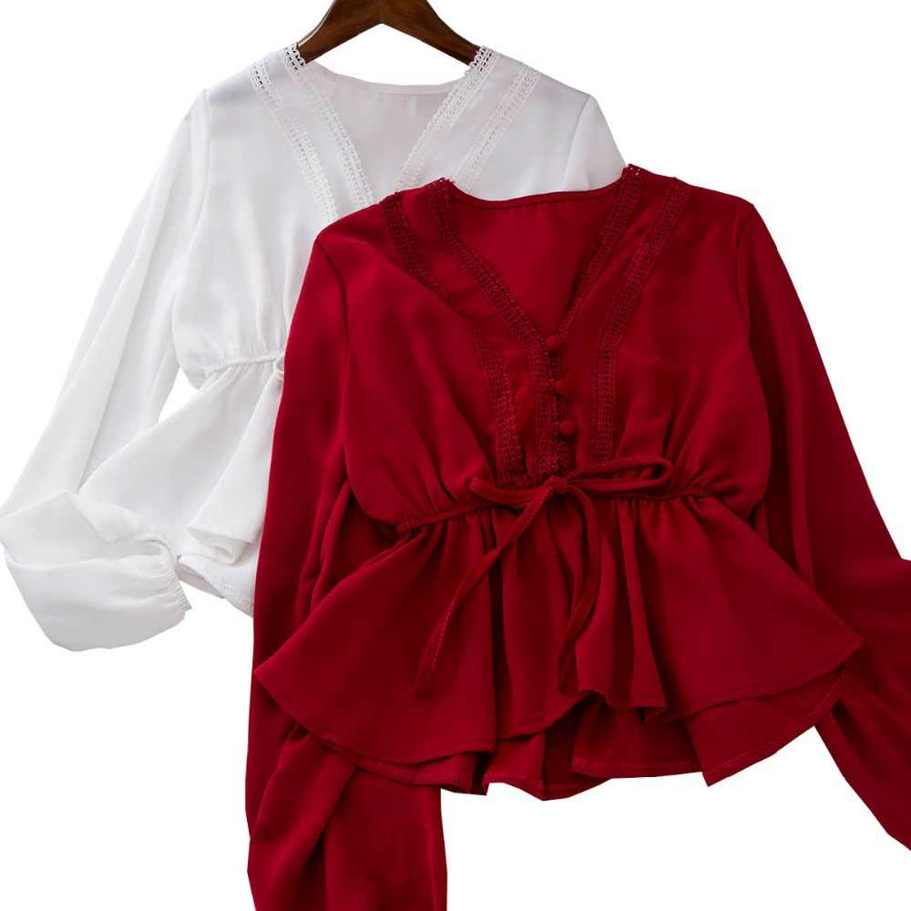 93877acb013f Peplum Top White Blouse Blusas Mujer De Moda 2019 Kimono Womens Tops And  Blouses Ruffle Deep