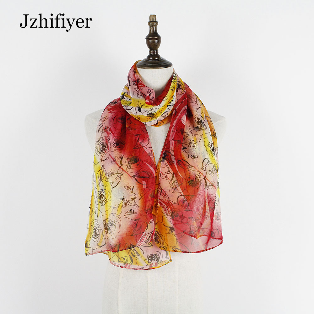 Fashion 10pcs/lot 50*160cm Print Floral Rose Polyester Scarf Shawls Vintage Hajibs Thin Material