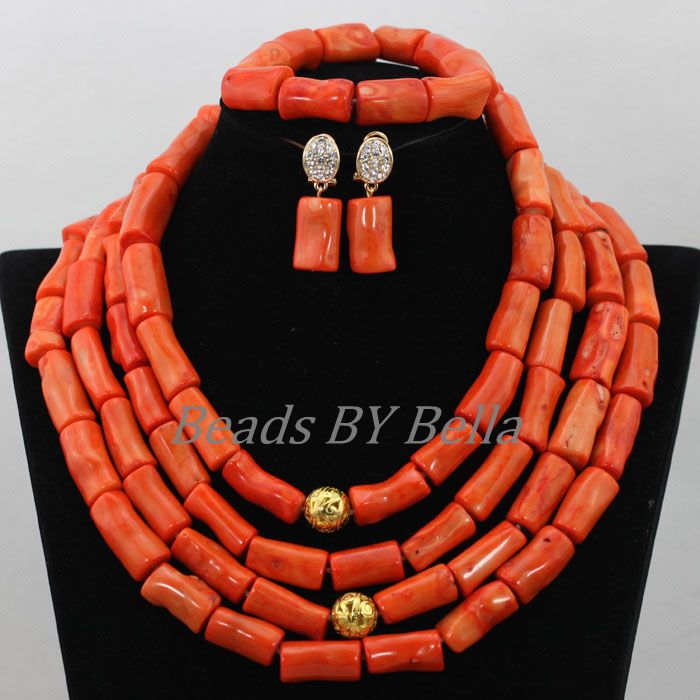 Marvelous Coral Beads Jewelry Set Nigerian Wedding Women African Beads Coral Necklace Bridal Jewelry Sets Free Shipping ABF782 marvelous orange african coral beads jewelry set nigerian wedding african beads necklace set 2016 new free shipping cj461