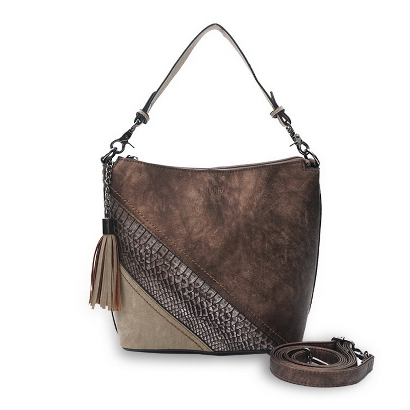 Diinovivo Snake Grain PU Leather Shoulder Bags Original Brand Diagonal Crossbody Bags Lady Casual Contrast Color Handbag DNV0732