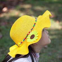1 Pcs 2016 New Falbala Sunflower Children Sun Hats Spring Summer Outdoor Beach Straw Hat Head circumference 52 cm 6138