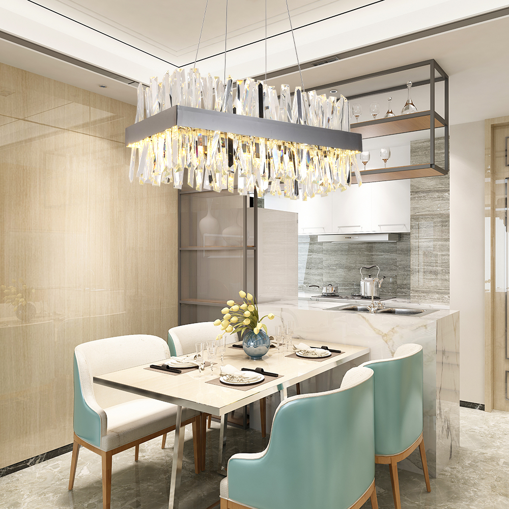 Image 4 - Luxury rectangle crystal chandelier lighting for dining room kitchen island lamps hanging modern chrome led chandeliers-in Chandeliers from Lights & Lighting