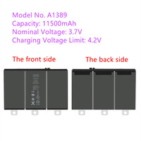 Free shipping New zero cycle li ion polymer battery for Ipad3/4 3.7V 11500mAh Model no.A1389 tablet battery