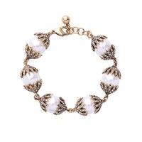 Aliexpress 2017 New Brand Simulated Pearls Strand Bracelets Antique Gold Color Geometric Rhinestone Bracelet Female
