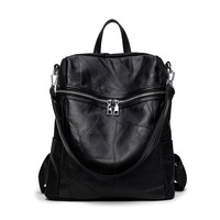 Leather Stitching Shoulder Bag Korean Fashion Dual Use Multi Function Leather Ladies Backpack Single Shoulder