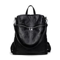 Leather Stitching Shoulder Bag Korean Fashion Dual Use Multi Function Leather Ladies Backpack Single Shoulder