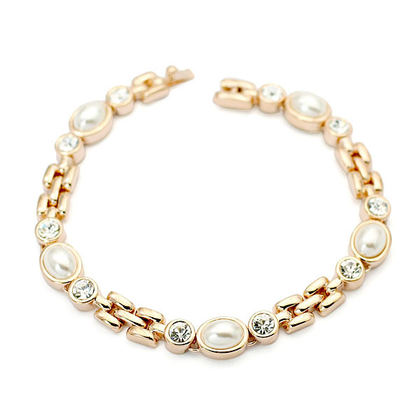 Luxury Elegant Pearl Beads Charm Bracelets For Women  Rose White Gold Plated Fashion Brand Jewelry