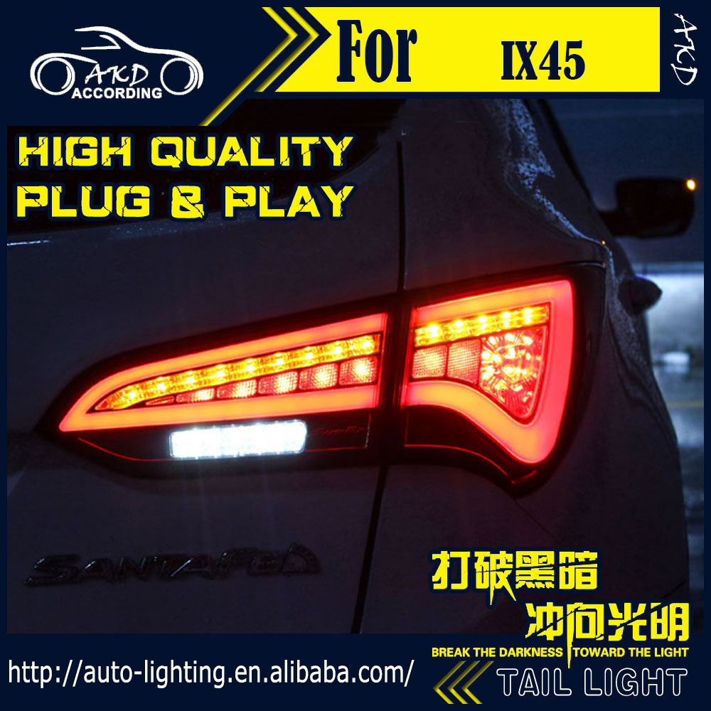 AKD Car Styling Tail Lamp for Hyundai IX45 Tail Lights New Santa Fe LED Tail Light LED Signal LED DRL Stop Rear Lamp Accessories [ free shipping ] brand new led rear light led back light benz style tail lamp for hyundai elantra 2012