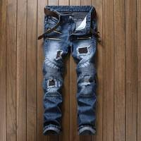 CHOLYL Blue Print Biker Men Jeans Ripped Slim Fit Hip Hop Denim Trousers Men S Jeans