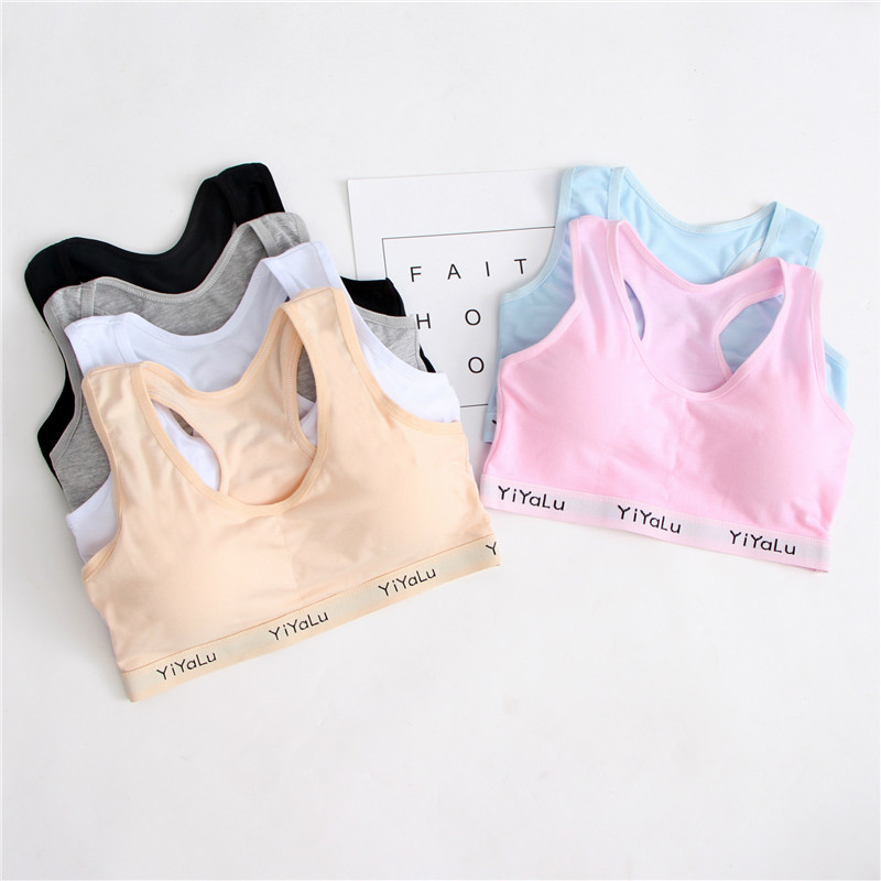 Teenage Girl Training Bra With Chest Pad Adolescente Sports Bra Tops For Teens 8-14 Years Cotton Bra For Girls Underwea