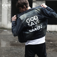 ATHIEF 2016 New Back Printed Denim Jacket Rock Roll God Save The Queen Washed Jeans Coat