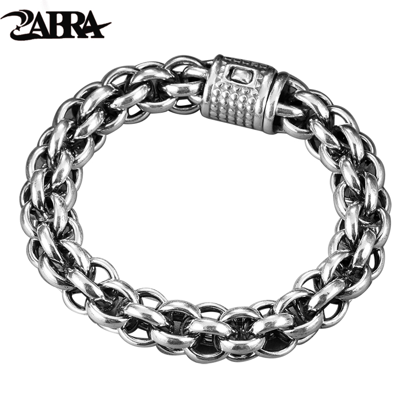 ZABRA 925 Sterling Silver Link Chain Thick Men Bracelet Vintage Thailand Handmade Punk Rock Biker Jewelry