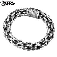 ZABRA 925 Sterling Silver Link Chain Thick Men Bracelet Vintage Thailand Handmade Punk Rock Biker Jewelry Mens Bracelets 2017