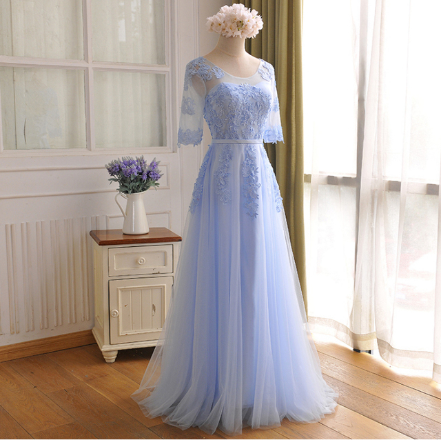 3b7f4aa4aeb beautiful sleeve girls modest formal light blue prom puffy party dresses  fitted dresses for teens with