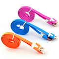 1Pc Colorful Slim Flat Noodle Micro USB Data Sync Charger Cable Charging line For Samsung Galaxy E2030 P66