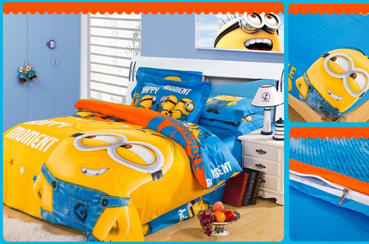 Minion Bed In A Bag Bedding Set King Queen Size Cartoon For Kids Bedspread Duvet Cover Sheets Bedroom Quilt Linen Fashion Cotton Sets From Home