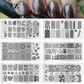 STZ 1 UNIDS Nueva DIY 12x6 cm Redondo de La Flor de Impresión de Uñas de Arte Sello Estampado de Imagen Plantillas de Esmalte de Uñas plantillas de Manicura XY-J01-16