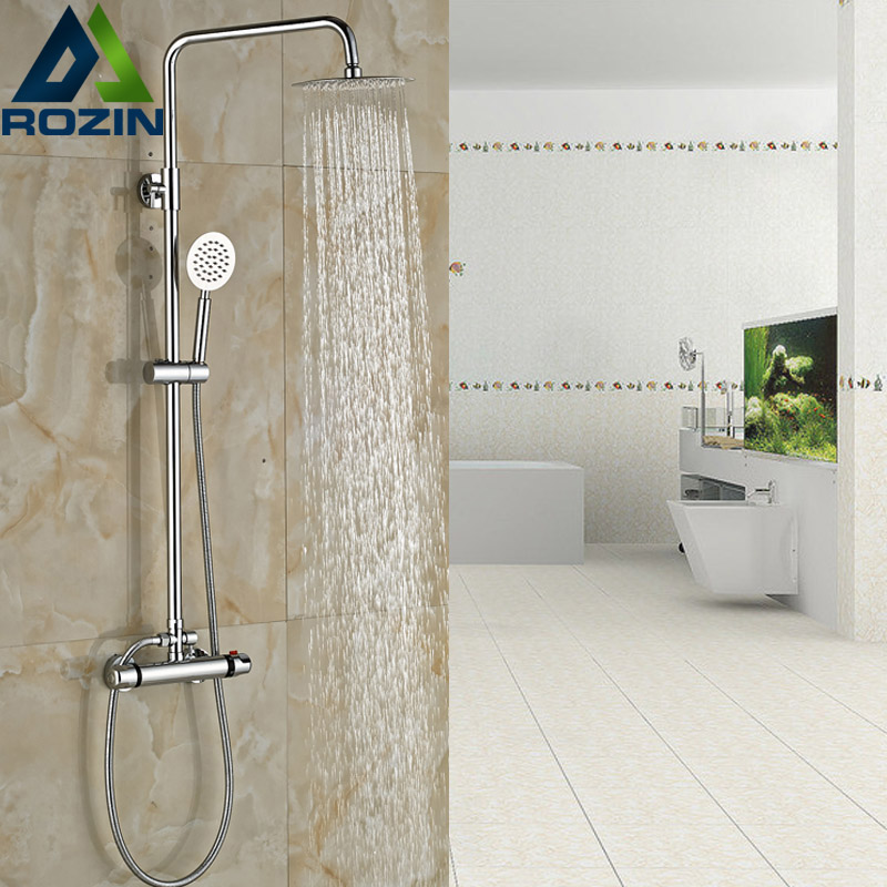 Bathroom Chrome Shower Faucet Set with Thermostatic Mixer Valve Wall mount 8 Ultrathin Rain Showerhead + Handshower chrome bathroom thermostatic mixer shower faucet set dual handles wall mount bath shower kit with 8 rainfall showerhead