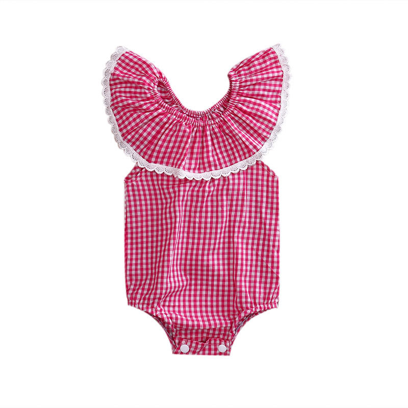 Cute Newborn Infant Baby Girl Romper Ruffle Plaid Lace Jumpsuit Outfit Sunsuit Children Clothes cute newborn baby girl clothes little princess striped bow romper sunsuit infant bebes jumpsuit children clothes