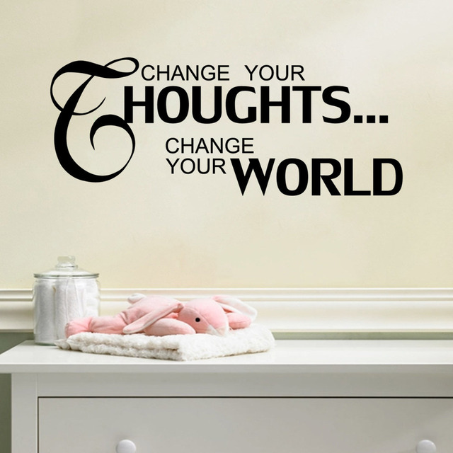 Awesome Letter Quotes CHANGE YOUR THOUGHTS CHANGE YOUR WORLD Home Decal Wall Sticker  Characters Modern Quotes Wall