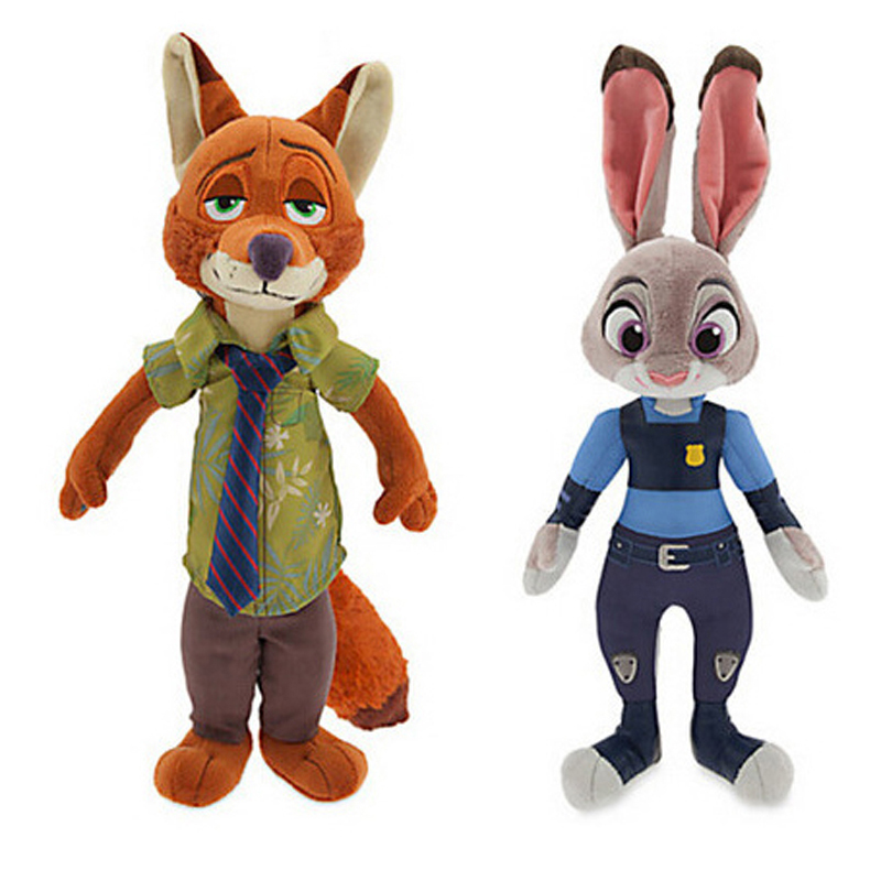 2pcs/lot Zootopia Zootropolis Plush Stuffed Toys 16-30cm Judy Hopps & Nick Wilde Plush Toy Dolls For Kids Xmas Gifts With Tag