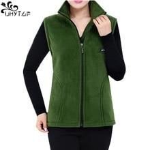 UHYTGF новые Флисовые женские жилеты осенние корейские куртки без рукавов больших размеров женские модные повседневные жилеты на молнии женские 442