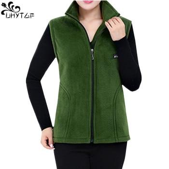 UHYTGF 2018 New Fleece Women Vests Autumn Korean Plus size Sleeveless Jackets Ladies Fashion Zipper Casual Waistcoat Female 442 1