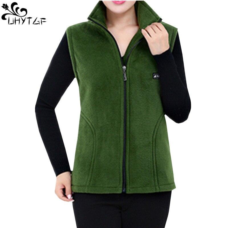 UHYTGF 2018 Neue Fleece Frauen Westen Herbst Koreanische Plus größe Ärmellose Jacken Damen Fashion Zipper Casual Weste Weibliche 442