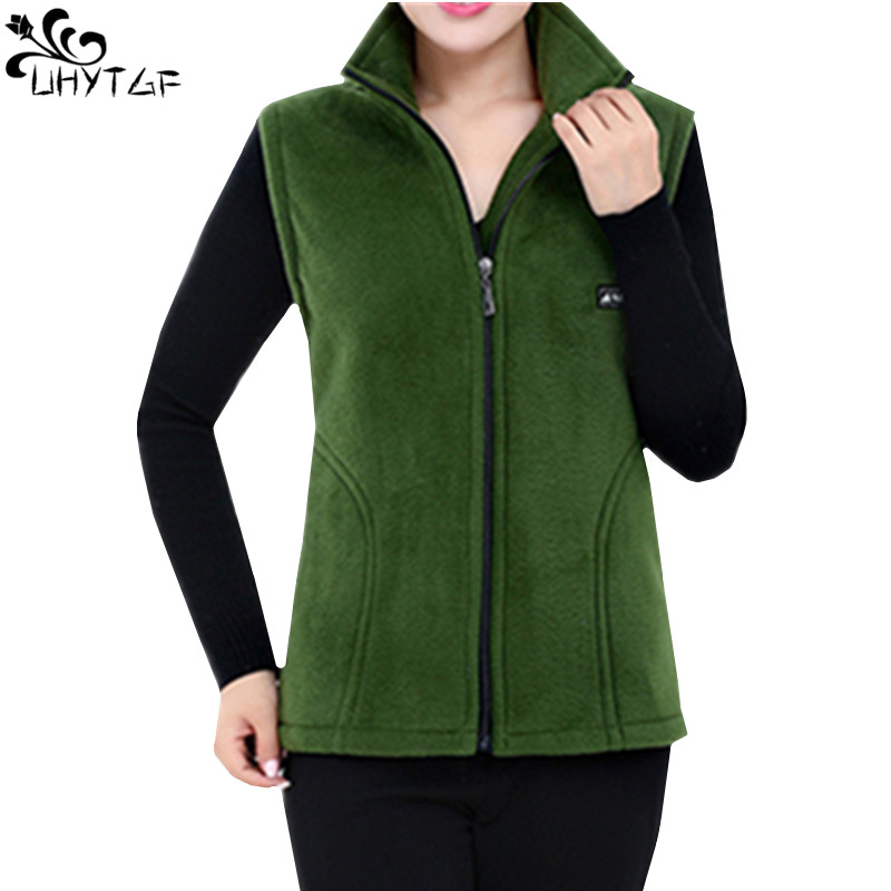 UHYTGF 2018 New Fleece Women Vests Autumn Korean Plus Size  Sleeveless Jackets Ladies Fashion Zipper Casual Waistcoat Female 442