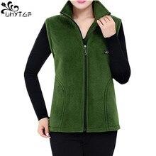 UHYTGF 2020 nowa, polarowa kamizelki damskie jesień koreański Plus rozmiar kurtki bez rękawów moda damska Zipper Casual kamizelka kobiet 442