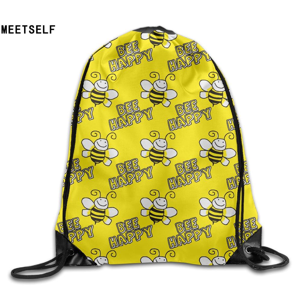Samcustom 3d Print Bee Happy Shoulders Bag Women Fabric Backpack Girls Beam Port Drawstring Travel Shoes Dust Storage Bags